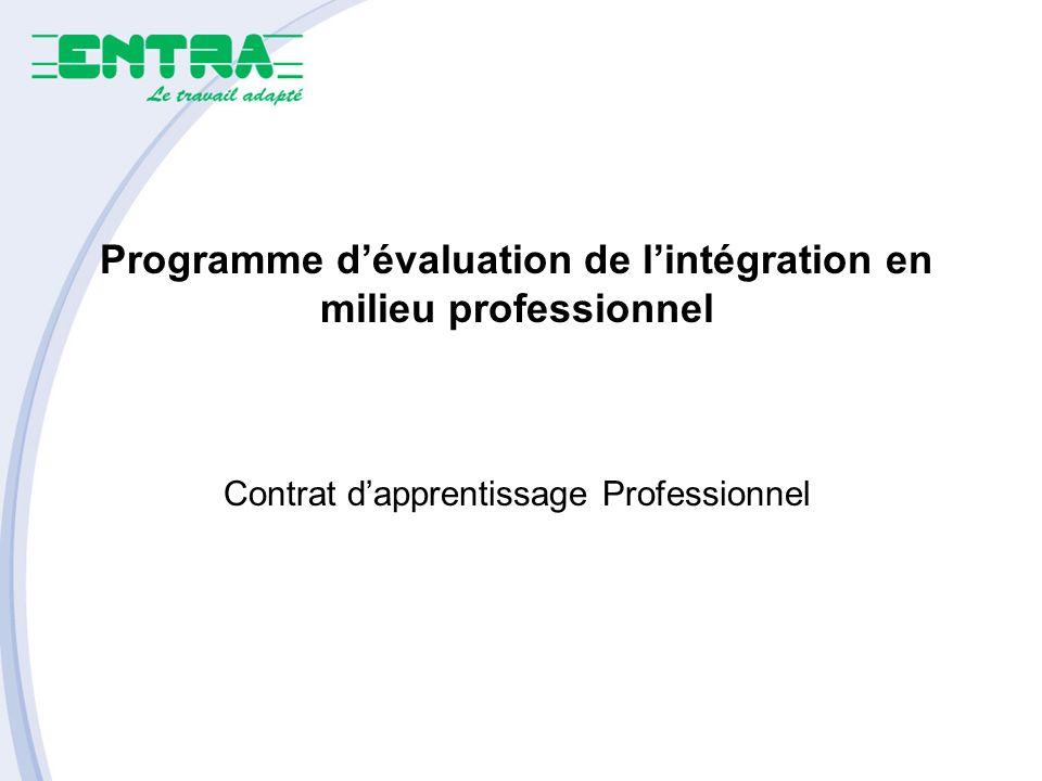 Programme dévaluation de lintégration en milieu professionnel Contrat dapprentissage Professionnel