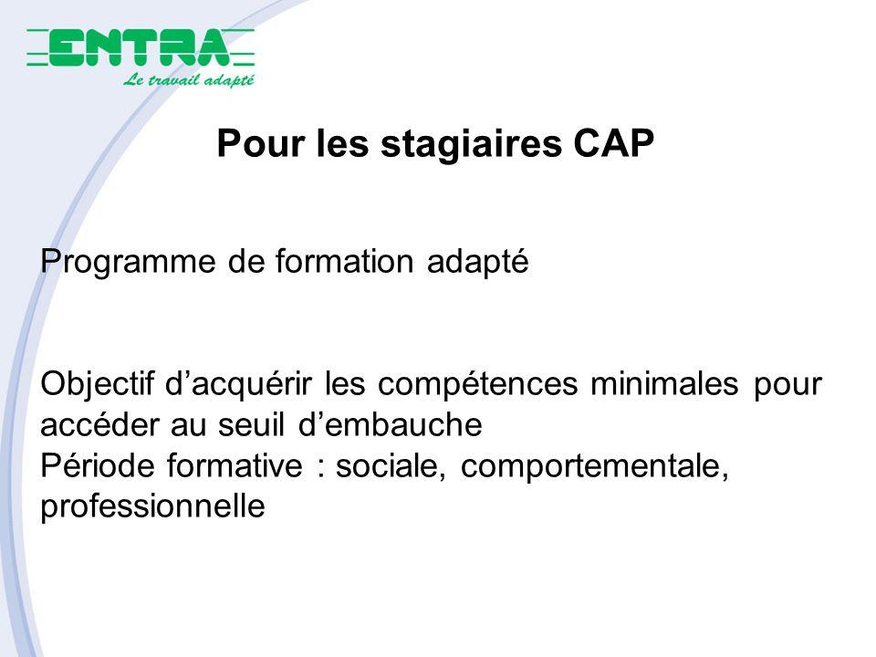 Pour les stagiaires CAP Programme de formation adapté Objectif dacquérir les compétences minimales pour accéder au seuil dembauche Période formative : sociale, comportementale, professionnelle