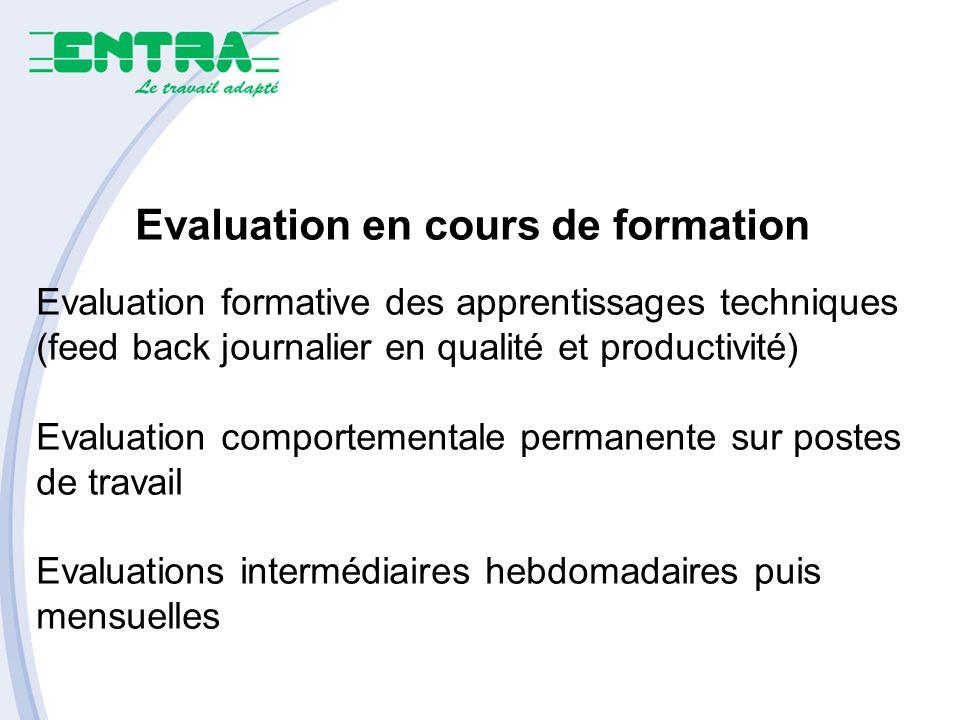 Evaluation en cours de formation Evaluation formative des apprentissages techniques (feed back journalier en qualité et productivité) Evaluation compo