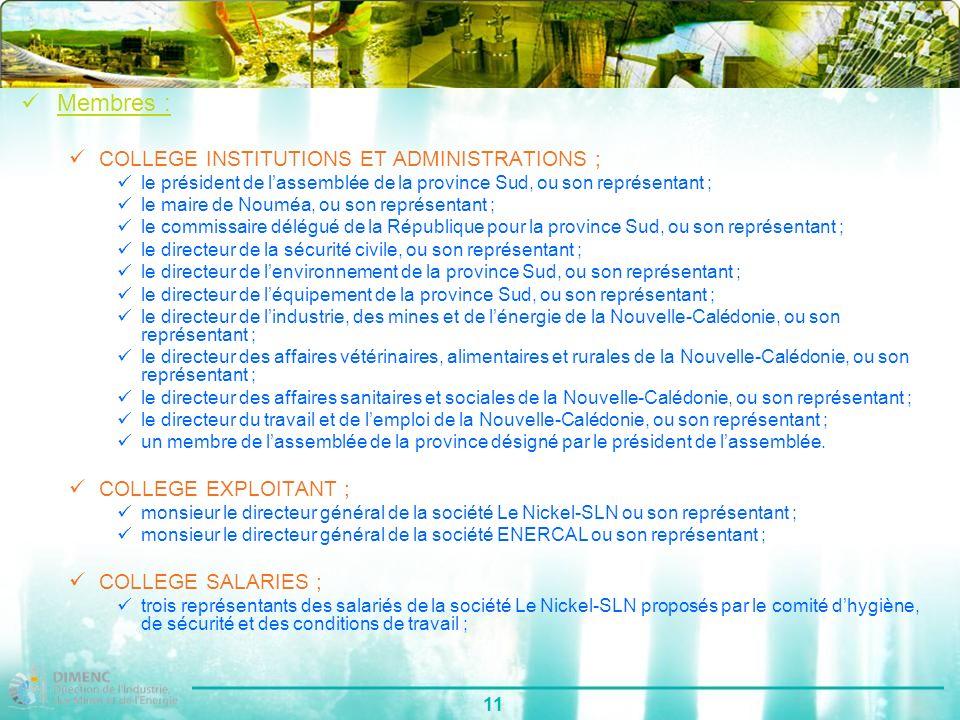 11 Membres : COLLEGE INSTITUTIONS ET ADMINISTRATIONS ; le président de lassemblée de la province Sud, ou son représentant ; le maire de Nouméa, ou son