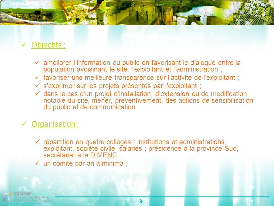 8 Objectifs : améliorer linformation du public en favorisant le dialogue entre la population avoisinant le site, lexploitant et ladministration ; favo