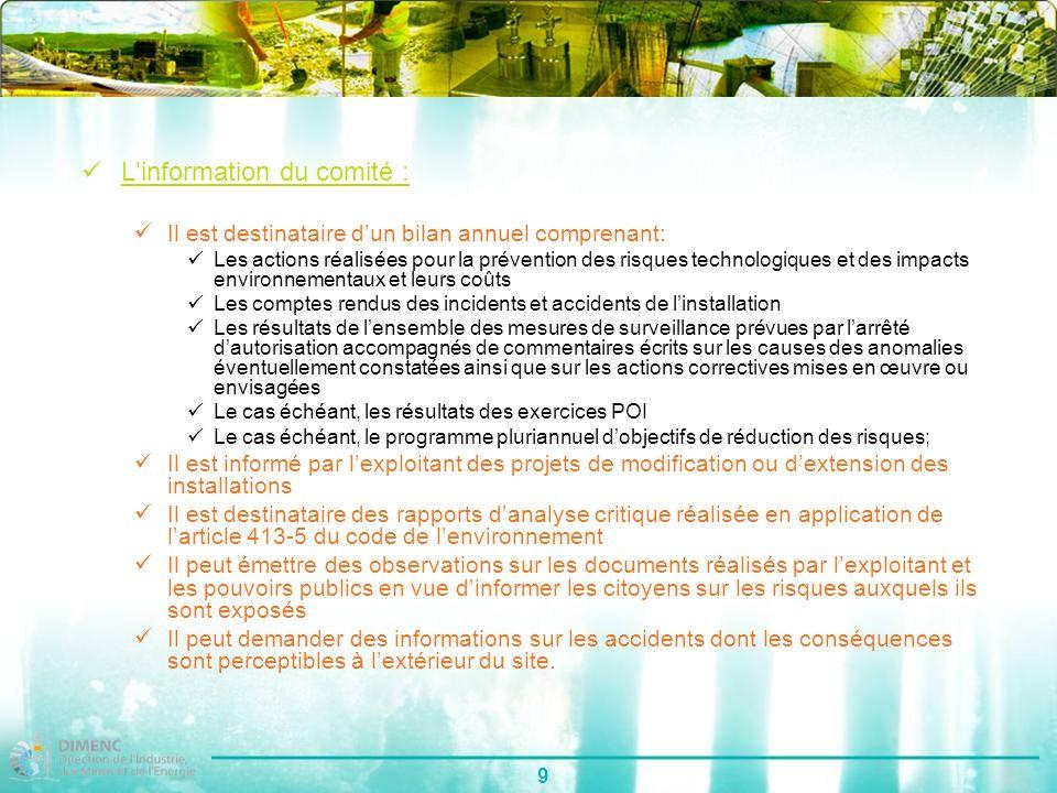 9 Linformation du comité : Il est destinataire dun bilan annuel comprenant: Les actions réalisées pour la prévention des risques technologiques et des