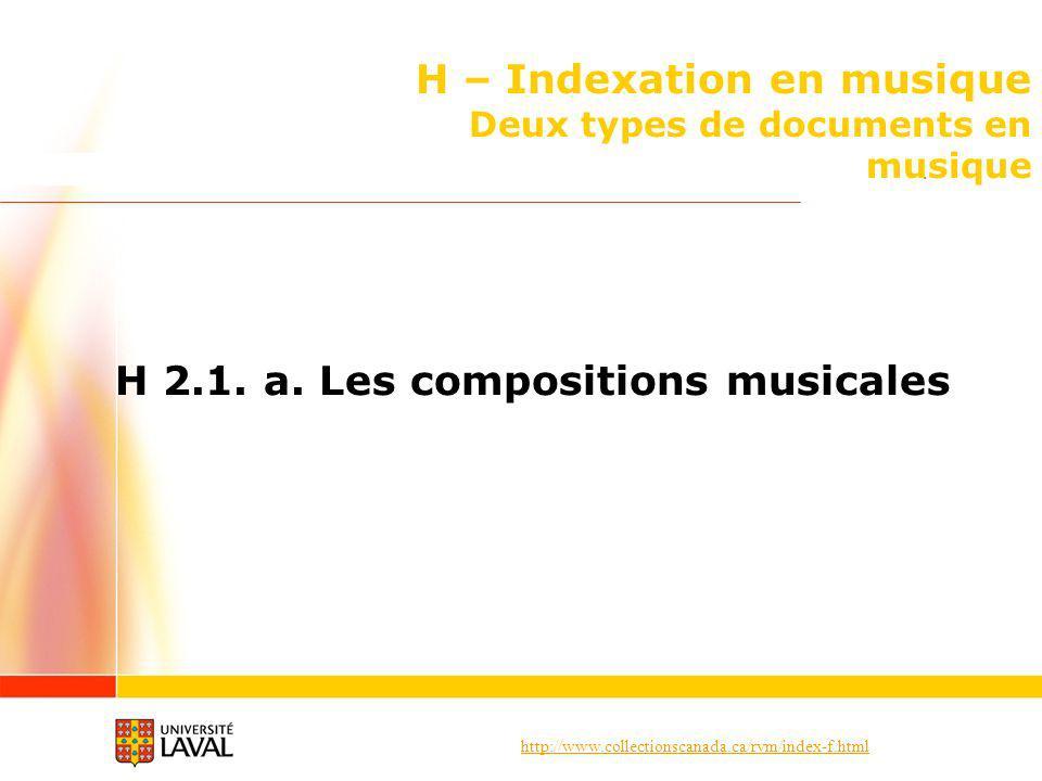 http://www.collectionscanada.ca/rvm/index-f.html H – Indexation en musique Deux types de documents en musique H 2.1.