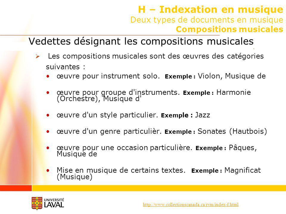http://www.collectionscanada.ca/rvm/index-f.html H – Indexation en musique Deux types de documents en musique Compositions musicales Vedettes désignant les compositions musicales Les compositions musicales sont des œuvres des catégories suivantes : œuvre pour instrument solo.