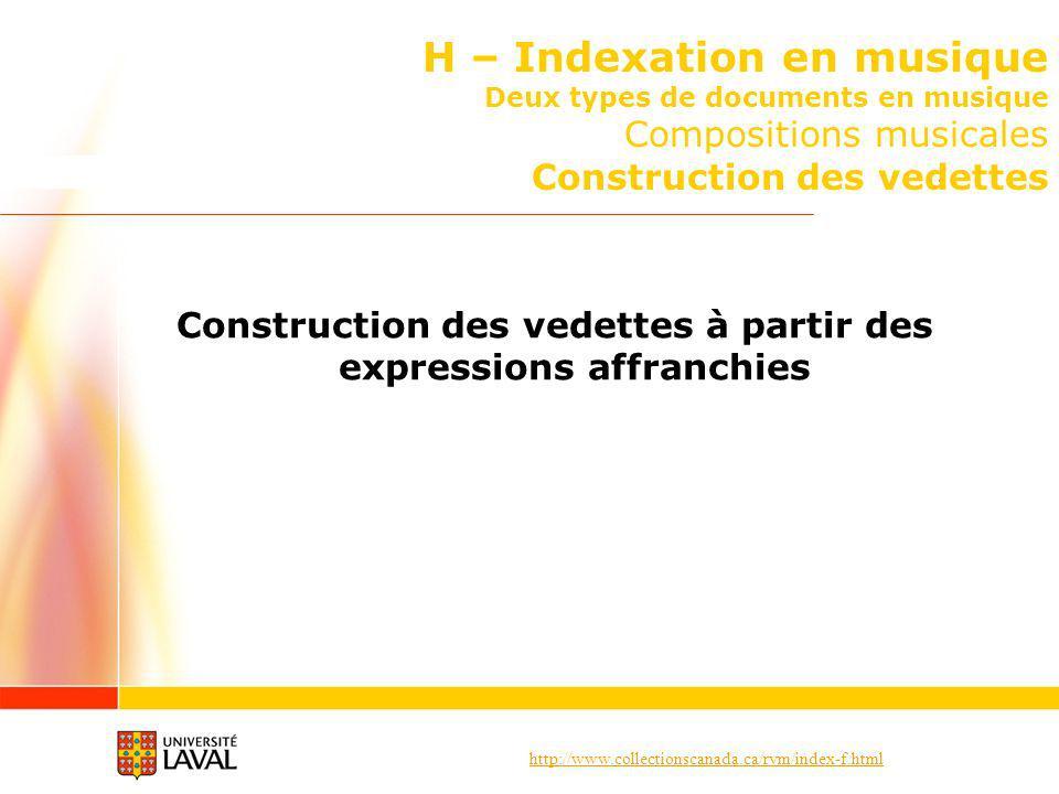 http://www.collectionscanada.ca/rvm/index-f.html H – Indexation en musique Deux types de documents en musique Compositions musicales Construction des vedettes Construction des vedettes à partir des expressions affranchies