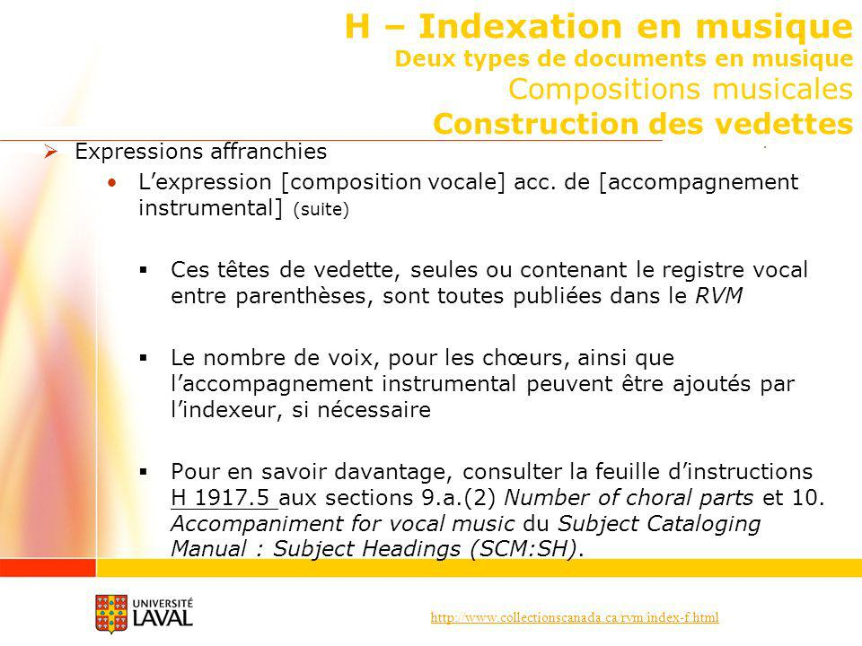 http://www.collectionscanada.ca/rvm/index-f.html H – Indexation en musique Deux types de documents en musique Compositions musicales Construction des vedettes Expressions affranchies Lexpression [composition vocale] acc.