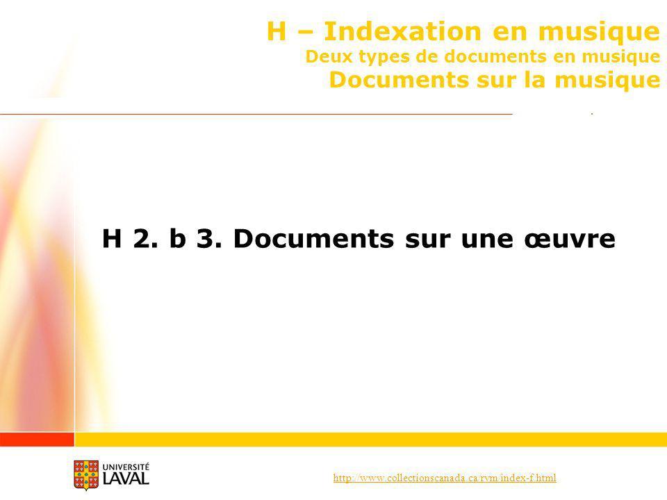 http://www.collectionscanada.ca/rvm/index-f.html H – Indexation en musique Deux types de documents en musique Documents sur la musique H 2.
