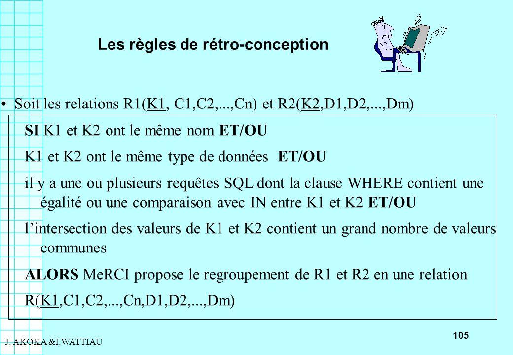 105 J. AKOKA &I.WATTIAU Les règles de rétro-conception Soit les relations R1(K1, C1,C2,...,Cn) et R2(K2,D1,D2,...,Dm) SI K1 et K2 ont le même nom ET/O