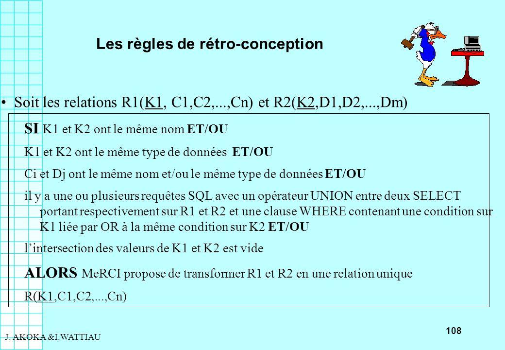 108 J. AKOKA &I.WATTIAU Les règles de rétro-conception Soit les relations R1(K1, C1,C2,...,Cn) et R2(K2,D1,D2,...,Dm) SI K1 et K2 ont le même nom ET/O