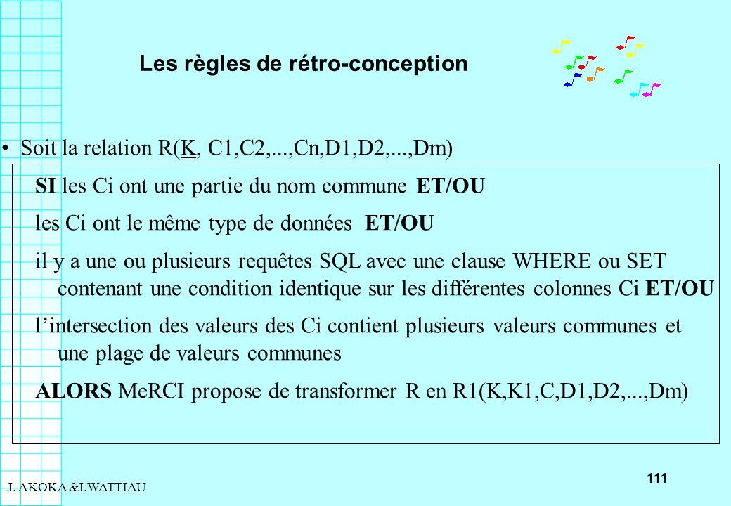111 J. AKOKA &I.WATTIAU Les règles de rétro-conception Soit la relation R(K, C1,C2,...,Cn,D1,D2,...,Dm) SI les Ci ont une partie du nom commune ET/OU