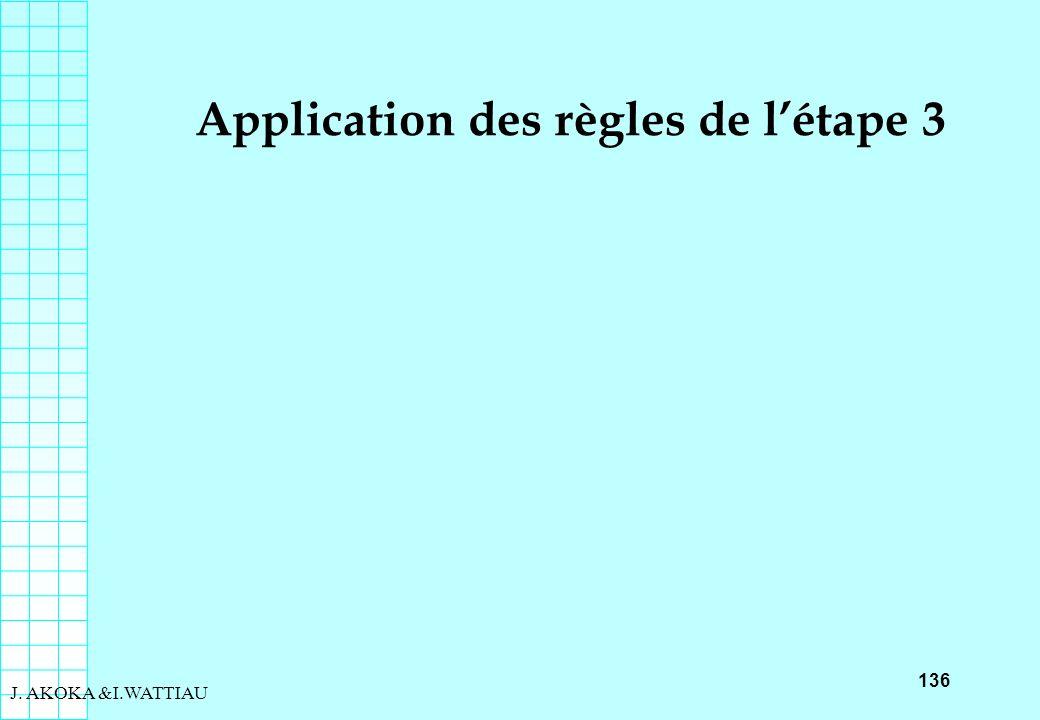 136 J. AKOKA &I.WATTIAU Application des règles de létape 3