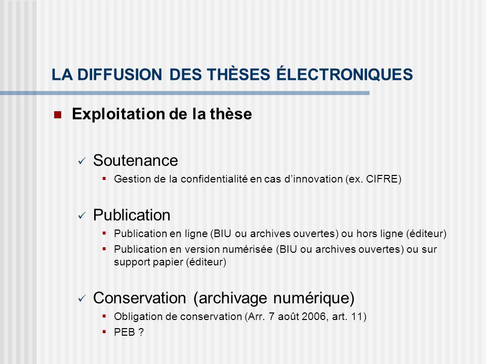 LA DIFFUSION DES THÈSES ÉLECTRONIQUES Exploitation de la thèse Soutenance Gestion de la confidentialité en cas dinnovation (ex. CIFRE) Publication Pub
