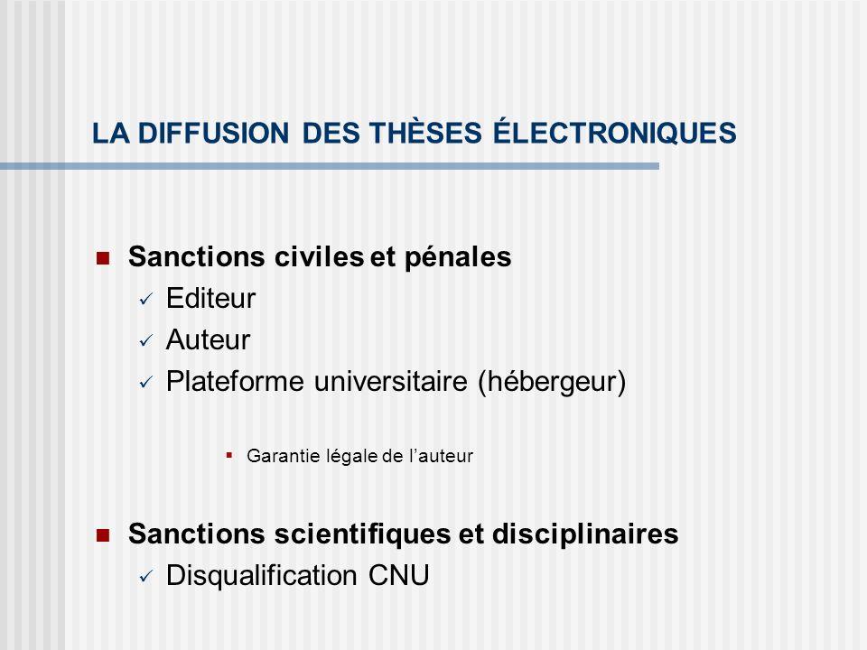 LA DIFFUSION DES THÈSES ÉLECTRONIQUES Sanctions civiles et pénales Editeur Auteur Plateforme universitaire (hébergeur) Garantie légale de lauteur Sanc