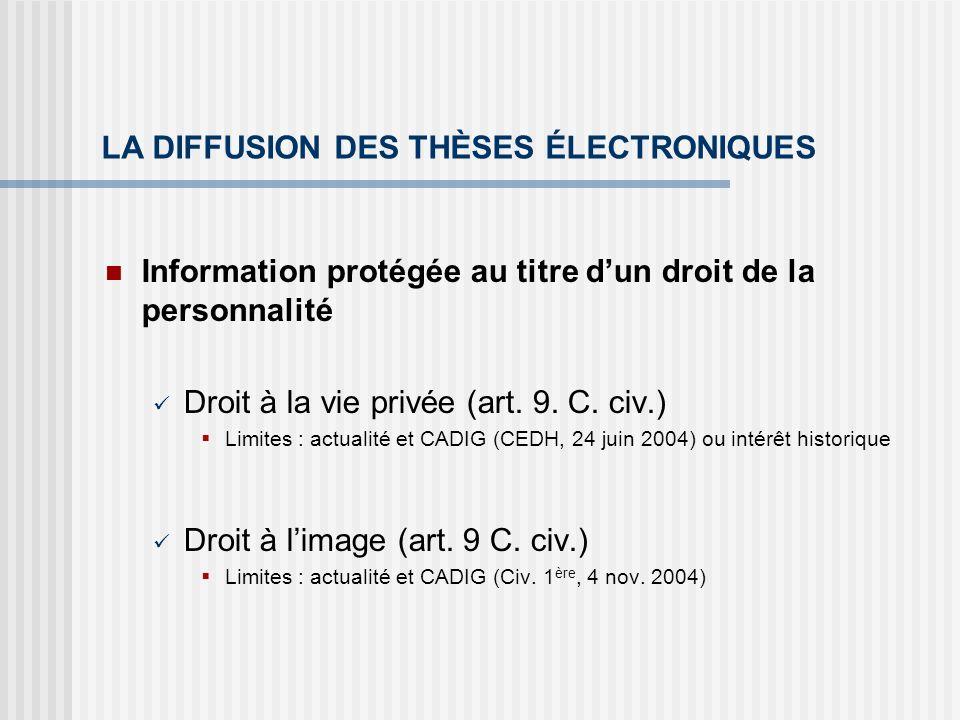 LA DIFFUSION DES THÈSES ÉLECTRONIQUES Information protégée au titre dun droit de la personnalité Droit à la vie privée (art. 9. C. civ.) Limites : act