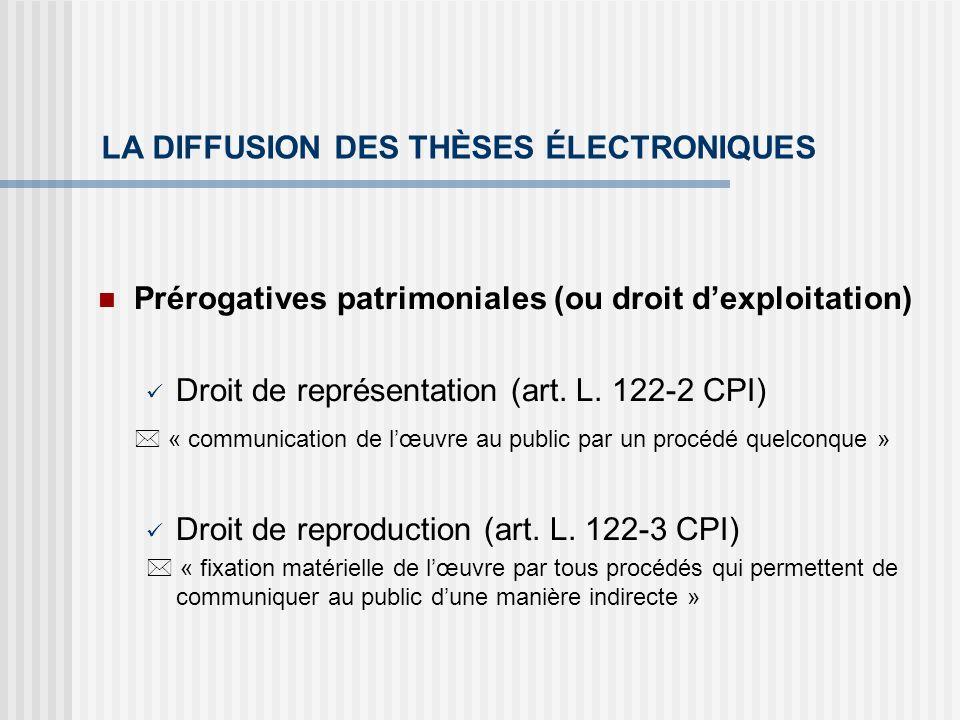 LA DIFFUSION DES THÈSES ÉLECTRONIQUES Prérogatives patrimoniales (ou droit dexploitation) Droit de représentation (art. L. 122-2 CPI) « communication