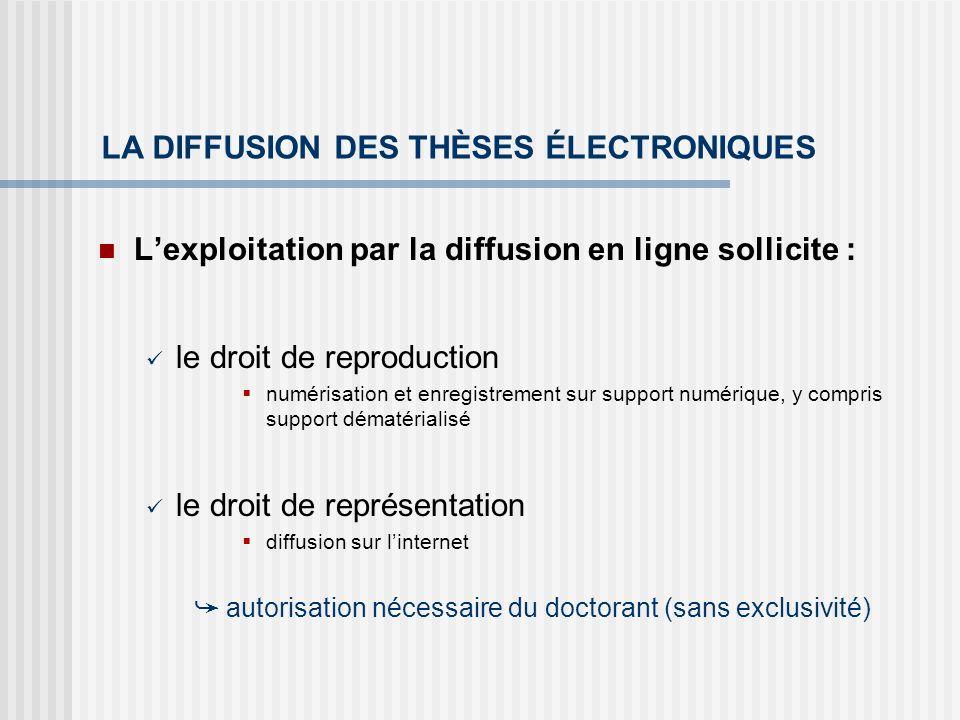 LA DIFFUSION DES THÈSES ÉLECTRONIQUES Lexploitation par la diffusion en ligne sollicite : le droit de reproduction numérisation et enregistrement sur