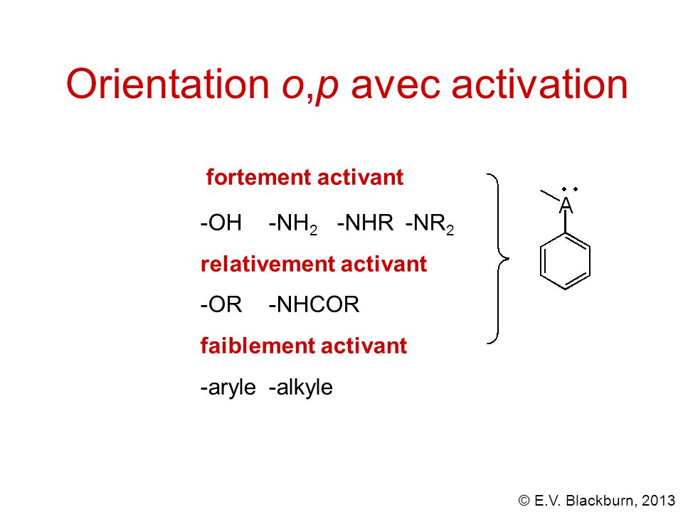 © E.V. Blackburn, 2013 Orientation o,p avec activation -OH-NH 2 -NHR-NR 2 relativement activant -OR-NHCOR faiblement activant -aryle-alkyle fortement