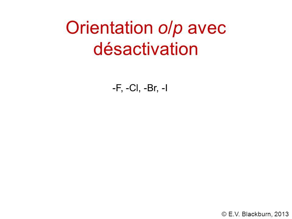 © E.V. Blackburn, 2013 Orientation o/p avec désactivation -F, -Cl, -Br, -I