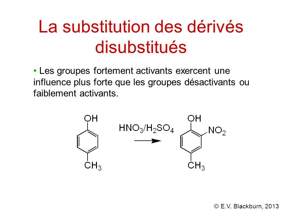 © E.V. Blackburn, 2013 La substitution des dérivés disubstitués Les groupes fortement activants exercent une influence plus forte que les groupes désa