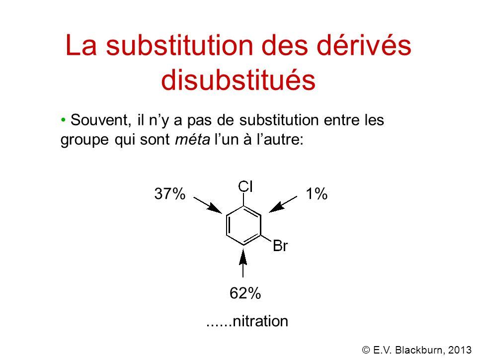 © E.V. Blackburn, 2013 Souvent, il ny a pas de substitution entre les groupe qui sont méta lun à lautre: 1% 62% 37%......nitration La substitution des