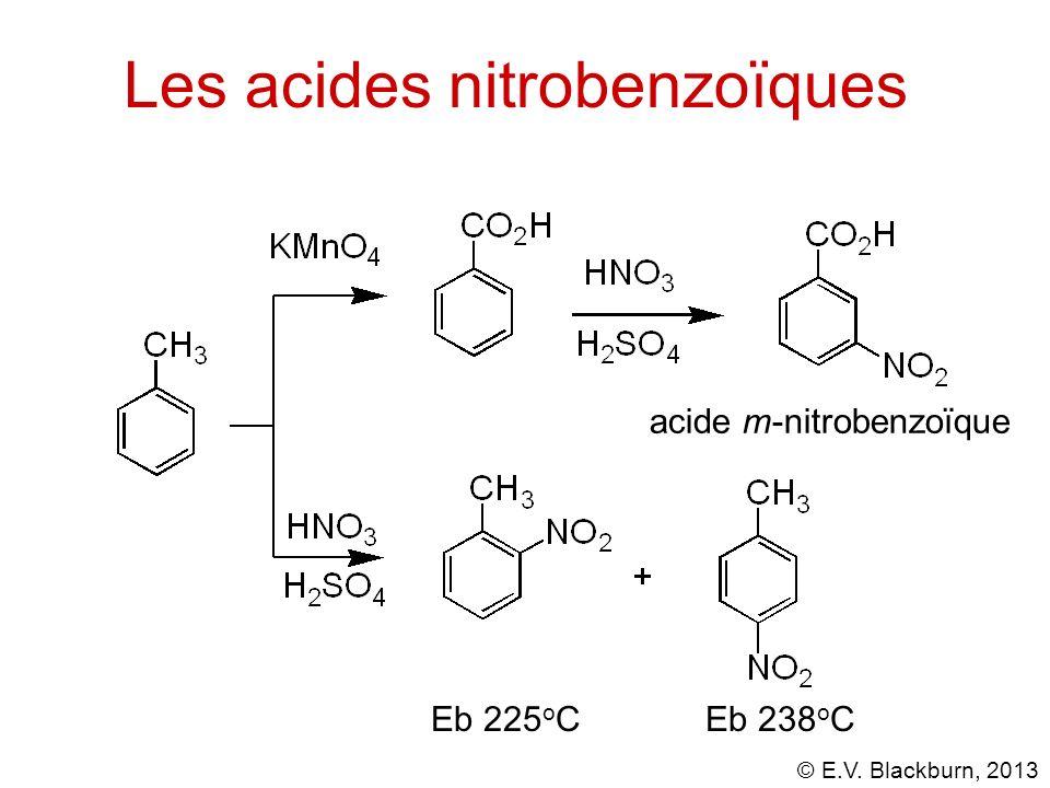 © E.V. Blackburn, 2013 Les acides nitrobenzoïques acide m-nitrobenzoïque Eb 225 o C Eb 238 o C