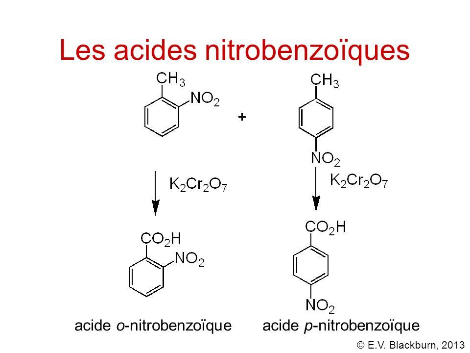 © E.V. Blackburn, 2013 Les acides nitrobenzoïques acide o-nitrobenzoïqueacide p-nitrobenzoïque