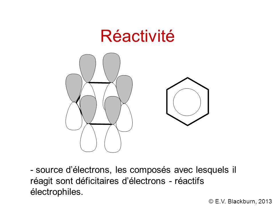 © E.V. Blackburn, 2013 Réactivité - source délectrons, les composés avec lesquels il réagit sont déficitaires délectrons - réactifs électrophiles.