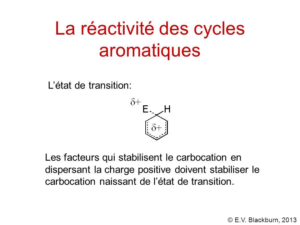 © E.V. Blackburn, 2013 La réactivité des cycles aromatiques Létat de transition: Les facteurs qui stabilisent le carbocation en dispersant la charge p