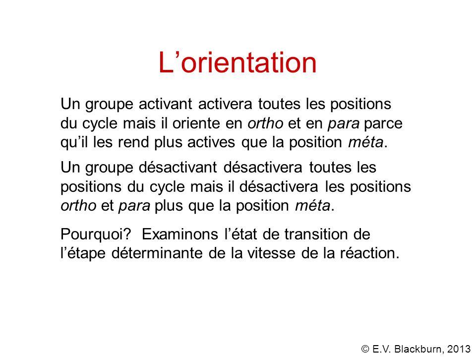 © E.V. Blackburn, 2013 Lorientation Un groupe désactivant désactivera toutes les positions du cycle mais il désactivera les positions ortho et para pl