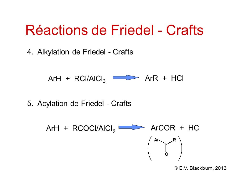 © E.V.Blackburn, 2013 4. Alkylation de Friedel - Crafts ArH + RCl/AlCl 3 ArR + HCl 5.