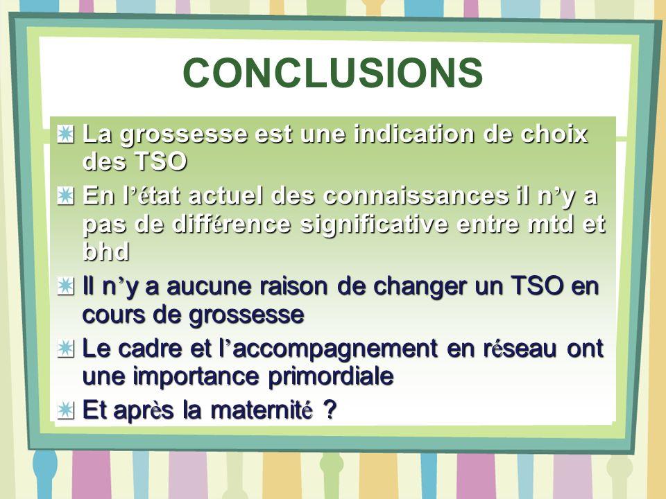 CONCLUSIONS La grossesse est une indication de choix des TSO En l é tat actuel des connaissances il n y a pas de diff é rence significative entre mtd