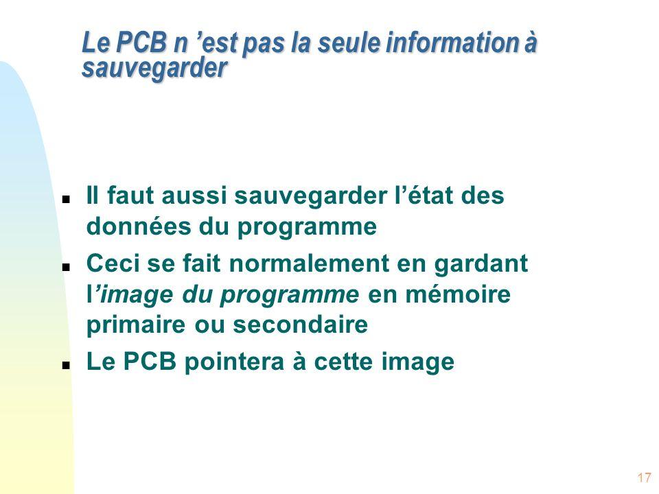 17 Le PCB n est pas la seule information à sauvegarder n Il faut aussi sauvegarder létat des données du programme n Ceci se fait normalement en gardant limage du programme en mémoire primaire ou secondaire n Le PCB pointera à cette image