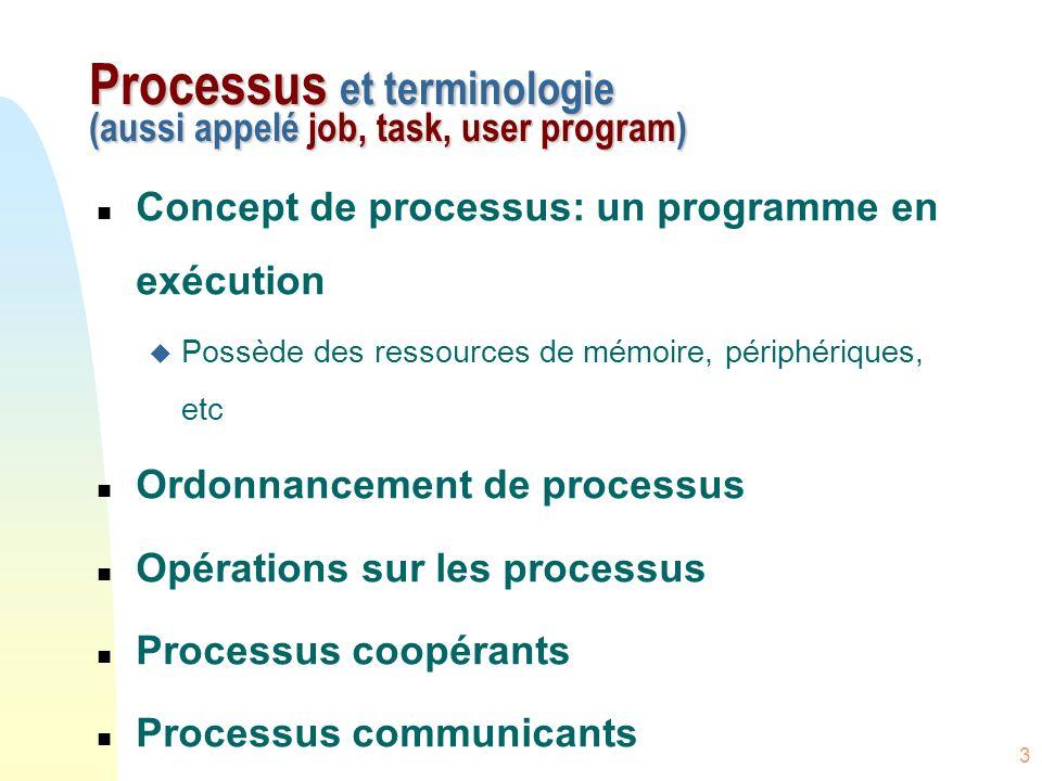 4 Espace de travail n Les processus sont composés dun espace de travail en mémoire formé de 3 segments :