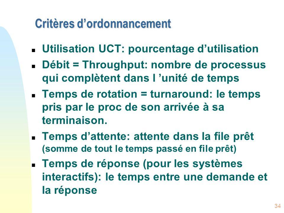 34 Critères dordonnancement n Utilisation UCT: pourcentage dutilisation n Débit = Throughput: nombre de processus qui complètent dans l unité de temps n Temps de rotation = turnaround: le temps pris par le proc de son arrivée à sa terminaison.