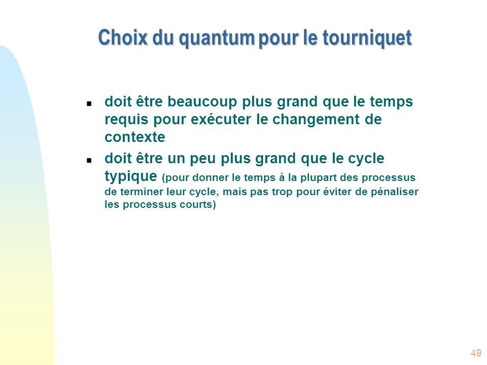 49 Choix du quantum pour le tourniquet n doit être beaucoup plus grand que le temps requis pour exécuter le changement de contexte n doit être un peu plus grand que le cycle typique (pour donner le temps à la plupart des processus de terminer leur cycle, mais pas trop pour éviter de pénaliser les processus courts)