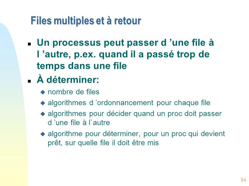 54 Files multiples et à retour n Un processus peut passer d une file à l autre, p.ex.
