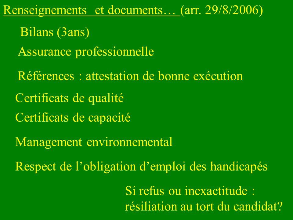 Renseignements et documents… (arr. 29/8/2006) Références : attestation de bonne exécution Certificats de qualité Respect de lobligation demploi des ha