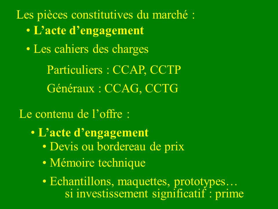 Les pièces constitutives du marché : Lacte dengagement Les cahiers des charges Particuliers : CCAP, CCTP Généraux : CCAG, CCTG Le contenu de loffre :