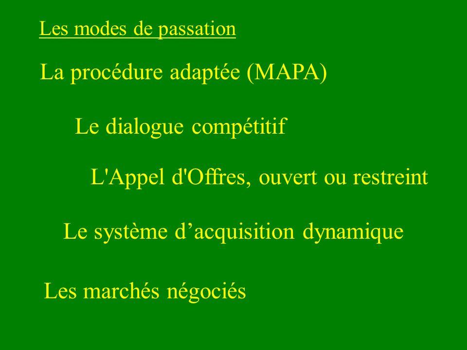 Les modes de passation La procédure adaptée (MAPA) Le dialogue compétitif L Appel d Offres, ouvert ou restreint Les marchés négociés Le système dacquisition dynamique
