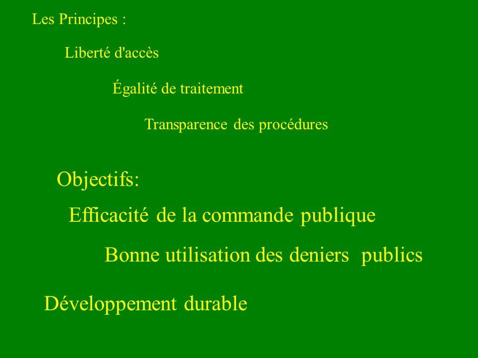 Les Principes : Liberté d accès Égalité de traitement Transparence des procédures Bonne utilisation des deniers publics Objectifs: Efficacité de la commande publique Développement durable