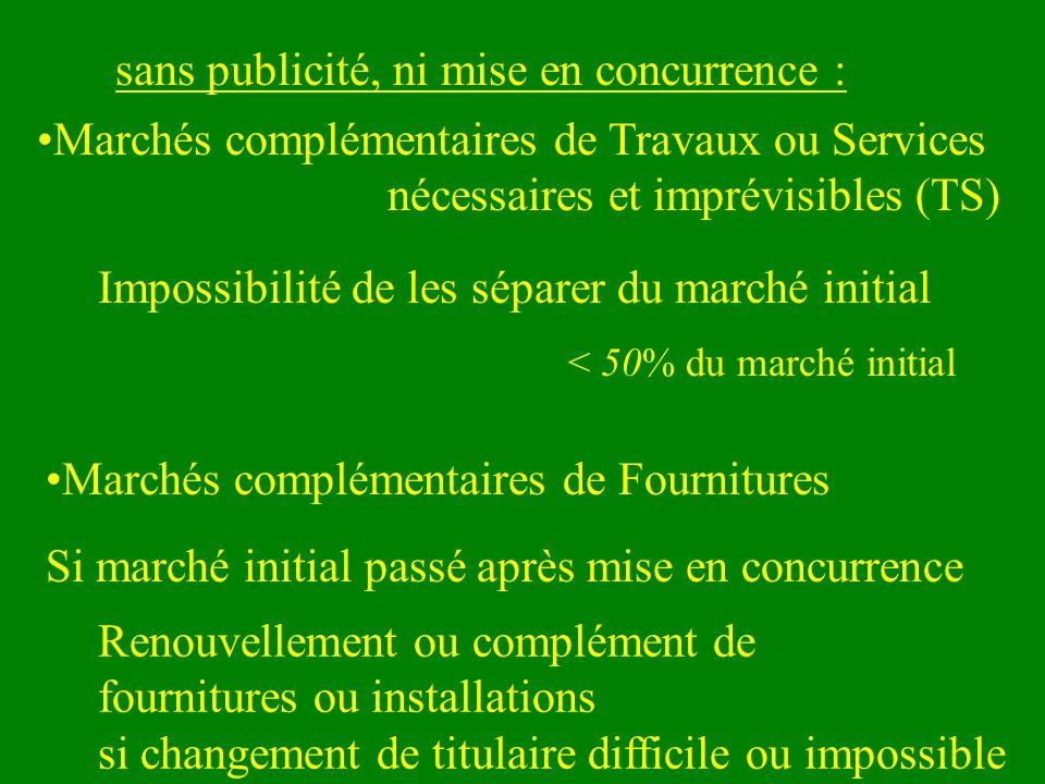 < 50% du marché initial sans publicité, ni mise en concurrence : Marchés complémentaires de Travaux ou Services nécessaires et imprévisibles (TS) Si m