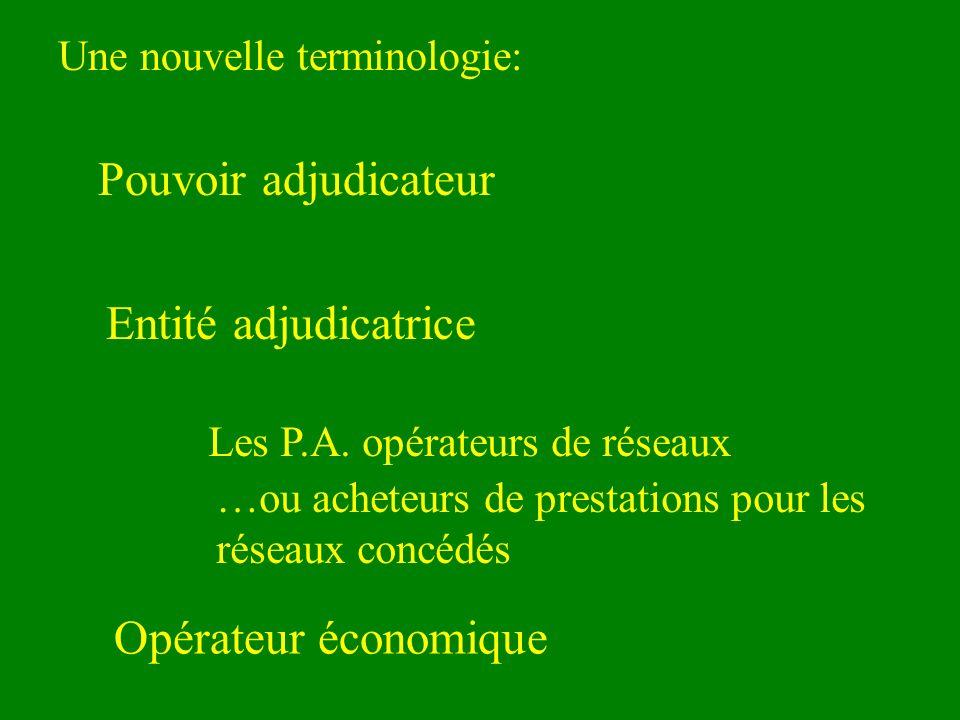 Une nouvelle terminologie: Pouvoir adjudicateur Entité adjudicatrice Les P.A.
