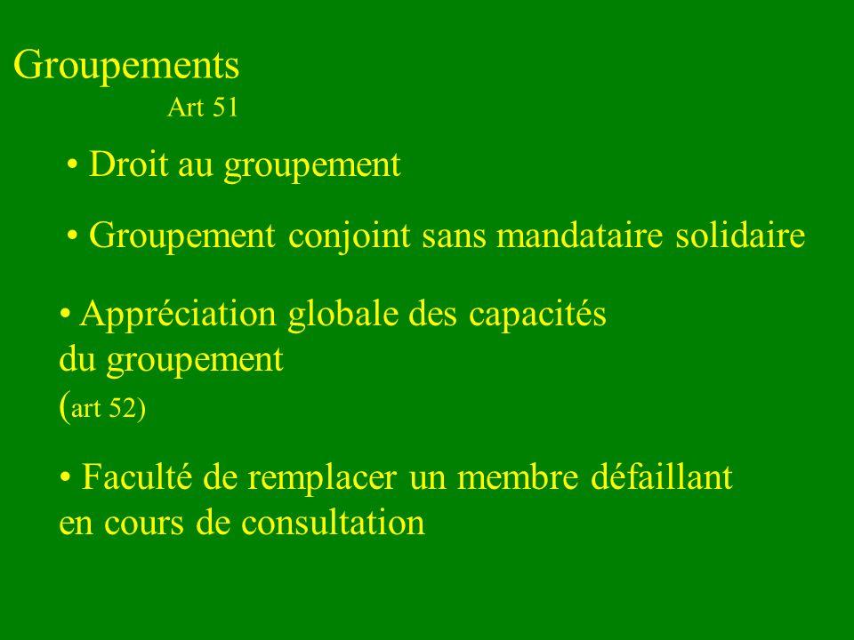 Groupements Art 51 Droit au groupement Groupement conjoint sans mandataire solidaire Appréciation globale des capacités du groupement ( art 52) Faculté de remplacer un membre défaillant en cours de consultation