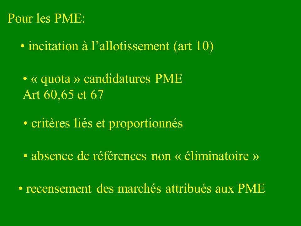 Pour les PME: incitation à lallotissement (art 10) « quota » candidatures PME Art 60,65 et 67 critères liés et proportionnés recensement des marchés attribués aux PME absence de références non « éliminatoire »