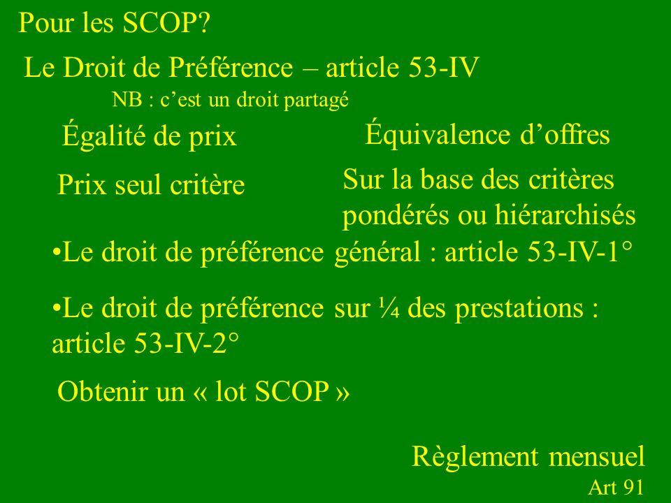 Pour les SCOP? Règlement mensuel Art 91 Le droit de préférence général : article 53-IV-1° Le Droit de Préférence – article 53-IV Égalité de prix Équiv