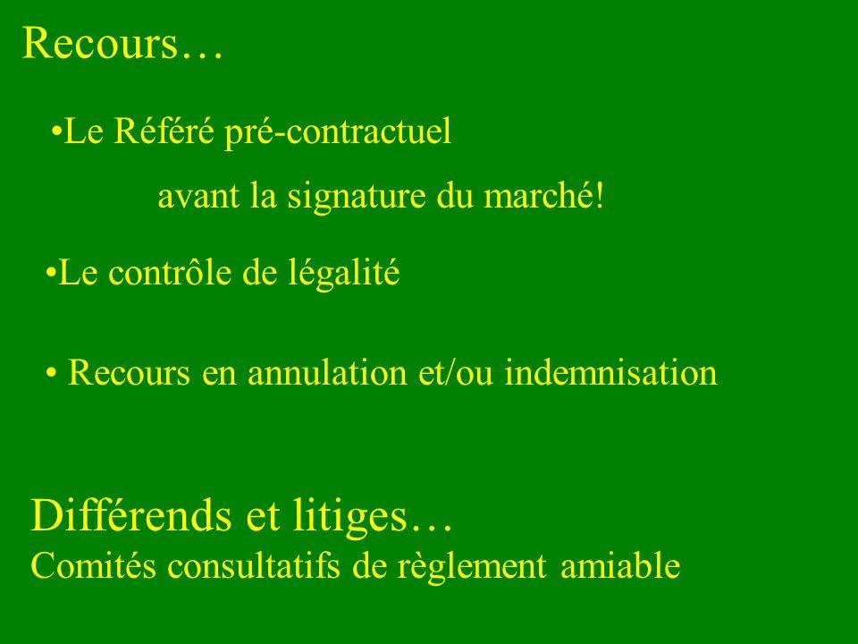 Recours… Le Référé pré-contractuel avant la signature du marché! Le contrôle de légalité Recours en annulation et/ou indemnisation Différends et litig