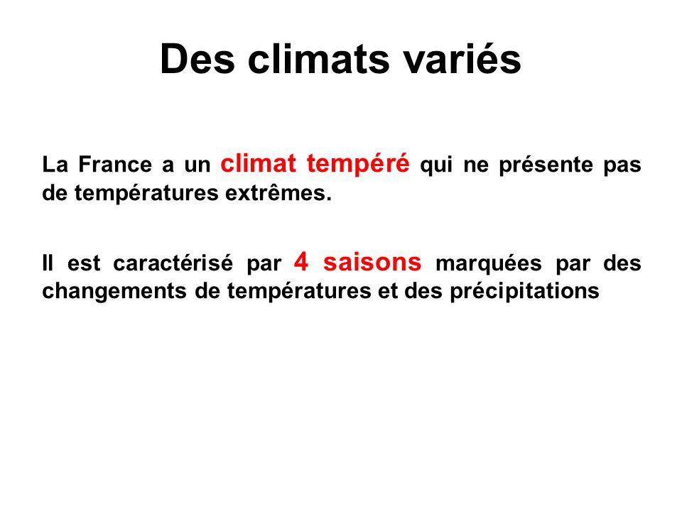 Des climats variés La France a un climat tempéré qui ne présente pas de températures extrêmes. Il est caractérisé par 4 saisons marquées par des chang