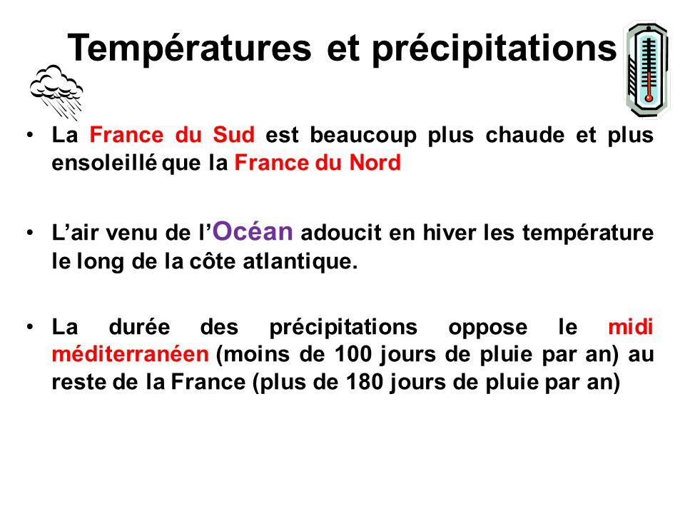 Températures et précipitations La France du Sud est beaucoup plus chaude et plus ensoleillé que la France du Nord Lair venu de l Océan adoucit en hiver les température le long de la côte atlantique.