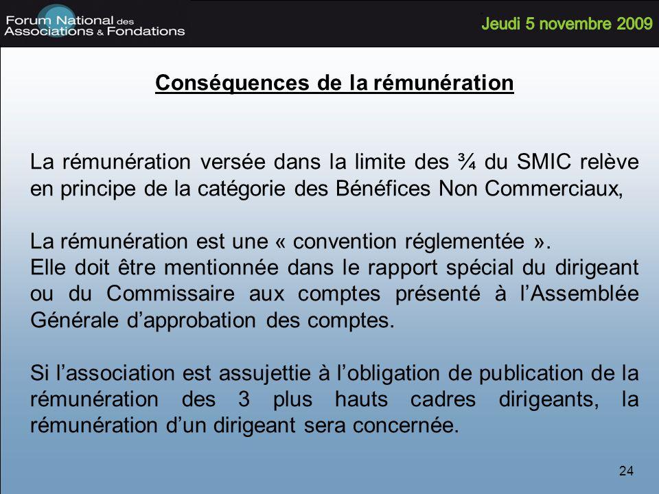 24 Conséquences de la rémunération La rémunération versée dans la limite des ¾ du SMIC relève en principe de la catégorie des Bénéfices Non Commerciaux, La rémunération est une « convention réglementée ».