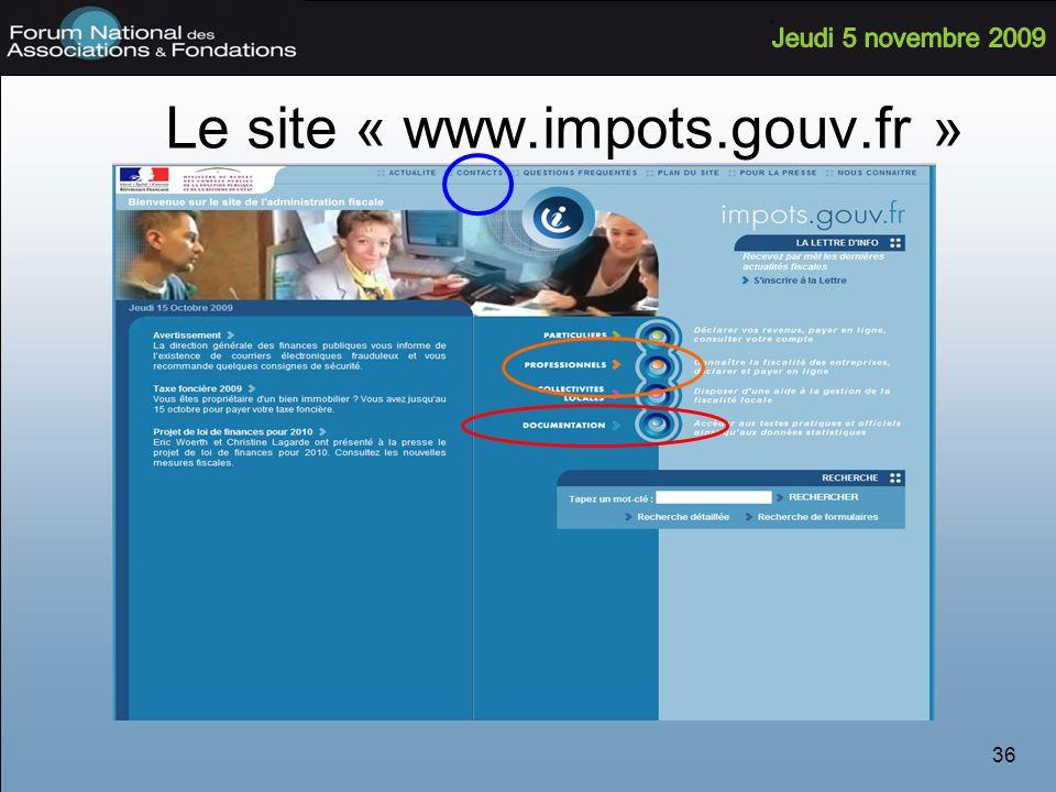 36 Le site « www.impots.gouv.fr »